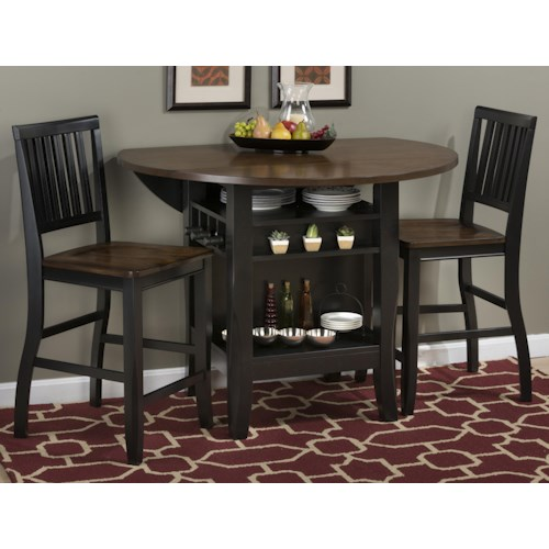 "Jofran Braden Birch 48"" Round Counter Height Table Set with Drop-Down Leaf"