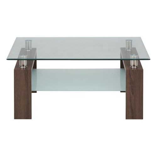 Jofran Compass Square Cocktail Table Glass Top