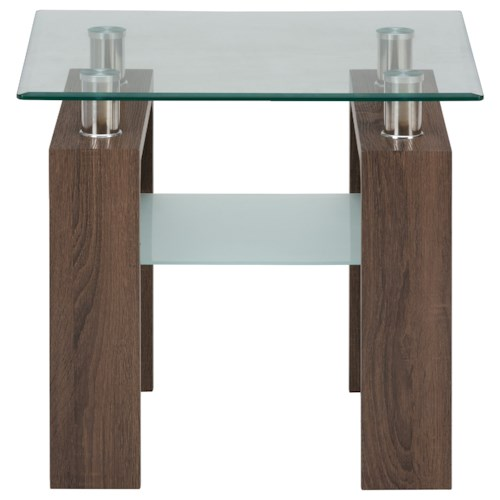Jofran Compass End Table with Glass Top