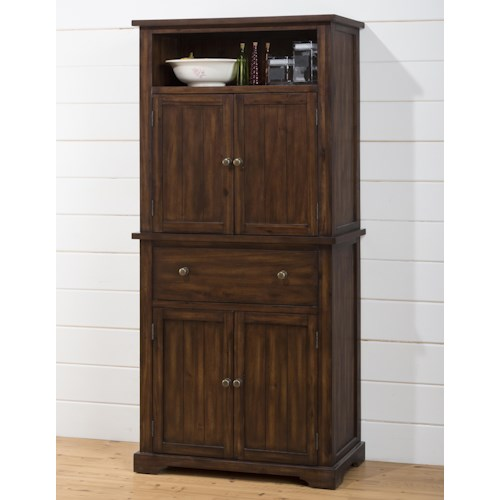 Jofran Cooke County Dining Cabinet with Chalk and Cork Board, 4 Shelves and 2 Drawers