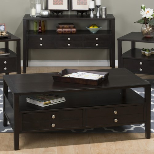 Jofran Hamilton Espresso Cocktail Table with 2 Pull Through Drawers