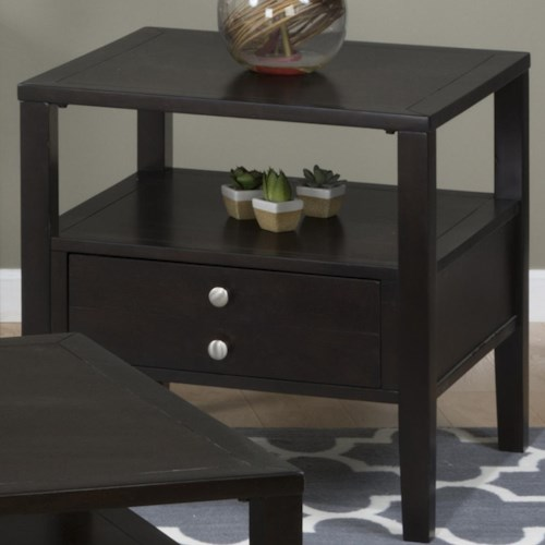 Jofran Hamilton Espresso End Table with Drawer and Shelf