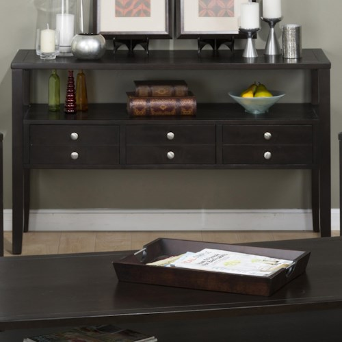 Jofran Hamilton Espresso Sofa Table with 3 Drawers and a Shelf