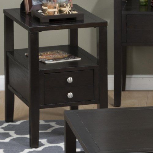 Jofran Hamilton Espresso Chairside Table With Drawer and Shelf