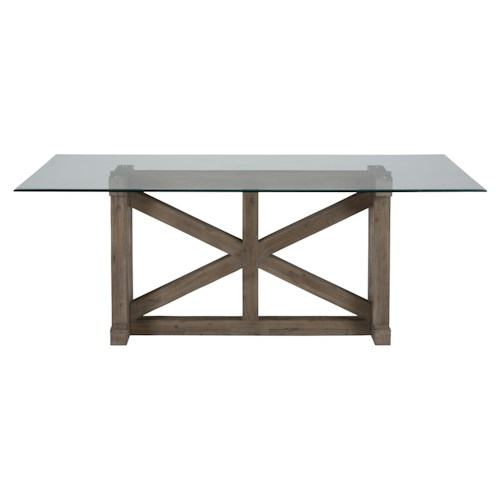 Jofran Hampton Hampton Sandblasted Table with Tempered Glass Top