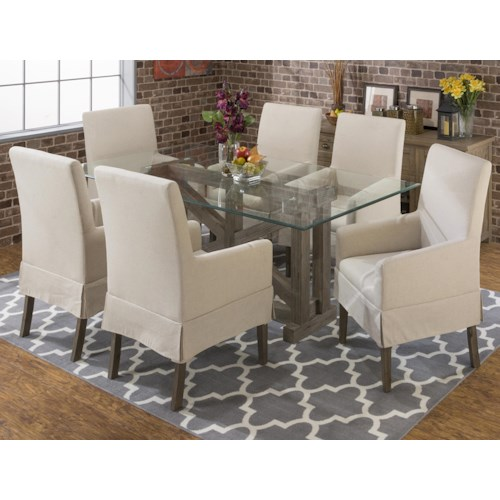 Jofran Hamden Sandblasted Table with Glass Top and Chair Set