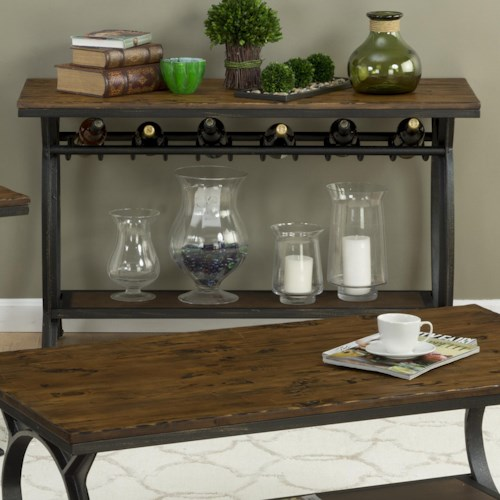 Jofran Harpers Press Harper's Press Sofa Table with Wine Rack