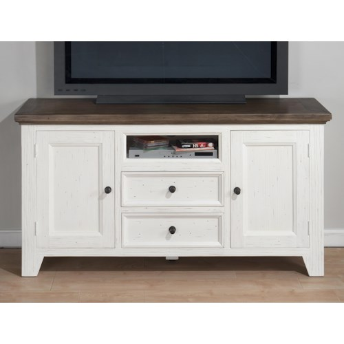 Jofran Nantucket Aged White Casual Cottage Media Unit with Storage