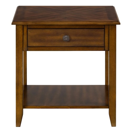 Jofran Medium Brown End Table with 1 Drawer and Shelf