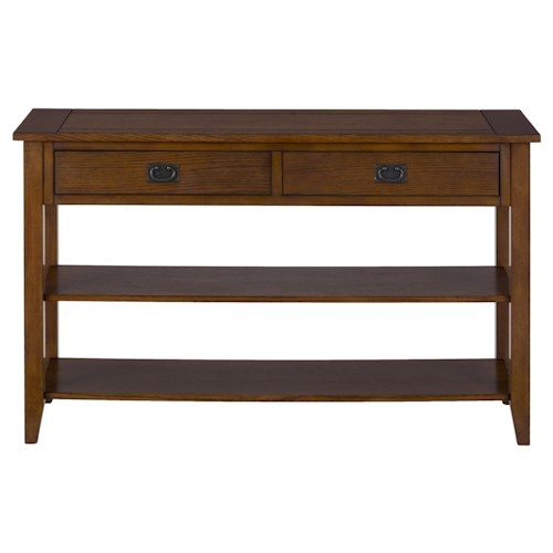 Jofran Mission Oak Sofa or Media Table with 2 Drawers and 2 Shelves