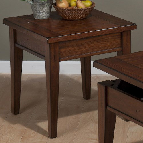 Jofran Dunbar Oak Casual Styled End Table with Oak Veneers