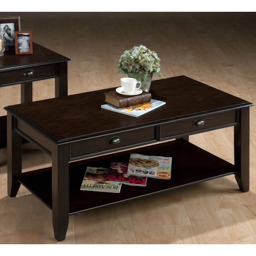 Jofran Bartley Oak Casual Cocktail Table with Two Drawers and One Shelf
