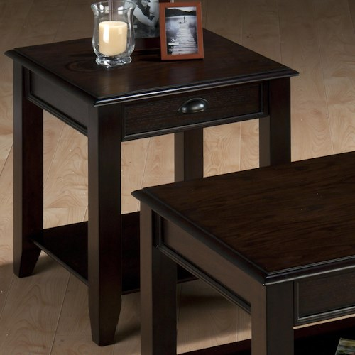 Jofran Bartley Oak Casual End Table with One Drawer and Shelf