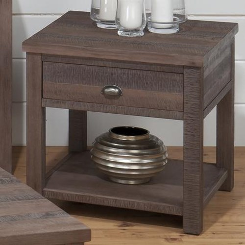 Jofran Falmouth Weathered Grey Transitional End Table with Wire Brushed Rough Hewn Finish
