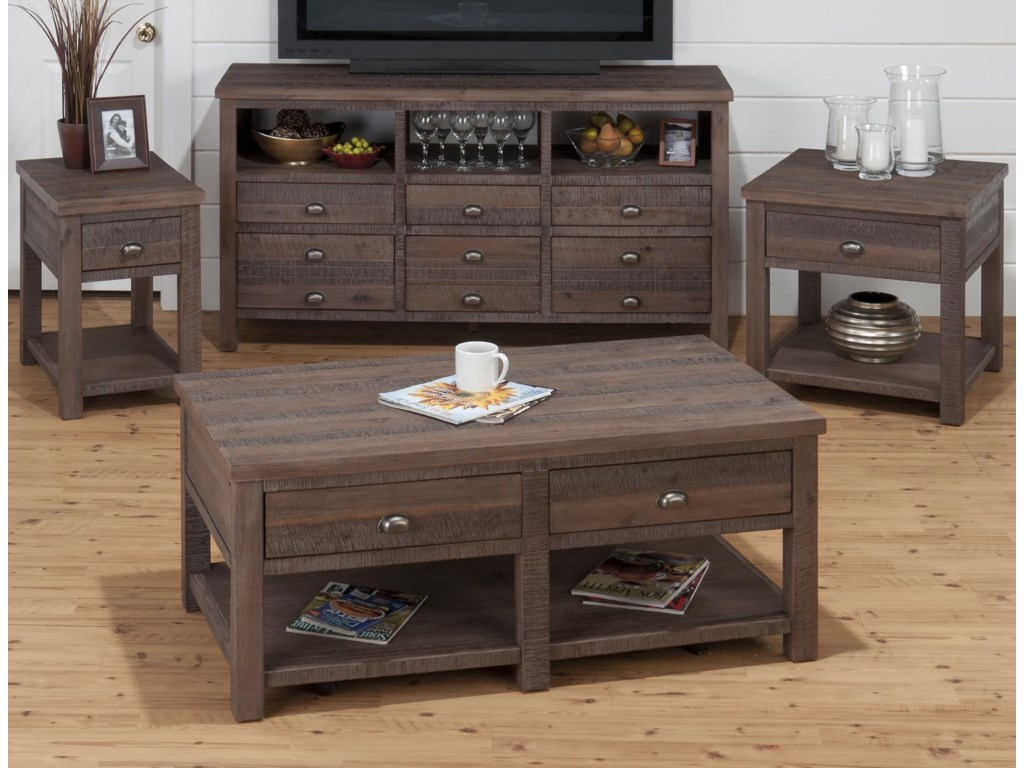 Shown with Coordinating Collection Cocktail Table and Chairside Table. Media Cabinet Also Shown.