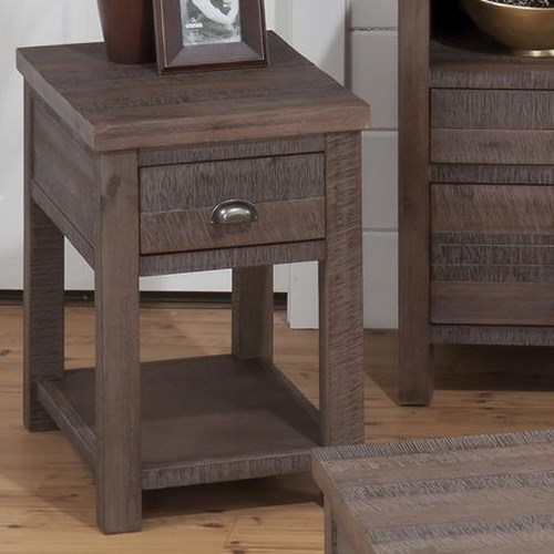 Jofran Falmouth Weathered Grey Transitional Chairside Table with Wire Brushed Rough Hewn Finish