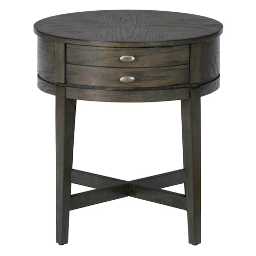 Jofran Miniatures - Antique Gray Oak Round End Table with