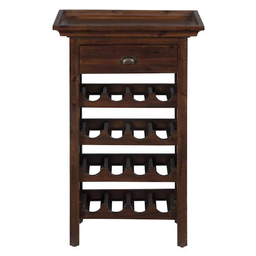 Jofran Urban Lodge Brown Wine Rack with Removable Tray Top