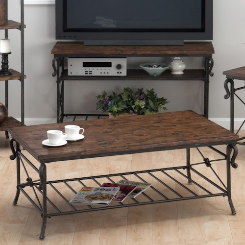 Jofran Rutledge Pine Cocktail Table with Metal Slat Shelf