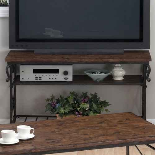Jofran Rutledge Pine Sofa/Media Table with 2 Shelves