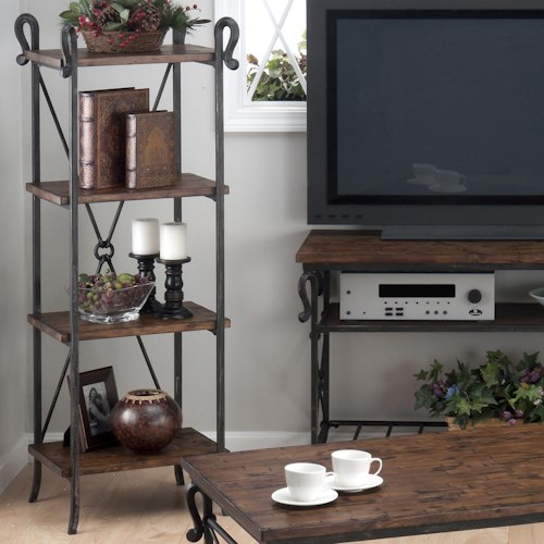 Jofran Rutledge Pine Etagere with 4 Wooden Shelves and Steel Frame