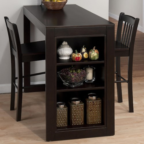 Jofran Maryland Merlot Counter Height Table with 3 Shelves for Storage