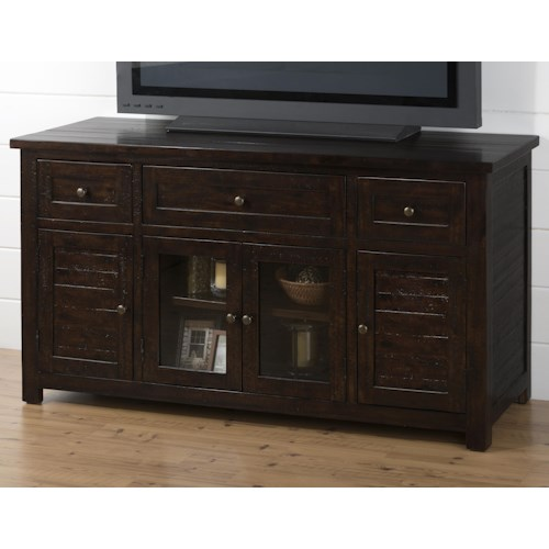 Jofran Dark Roast TV Stand with Drawers and Glass Doors
