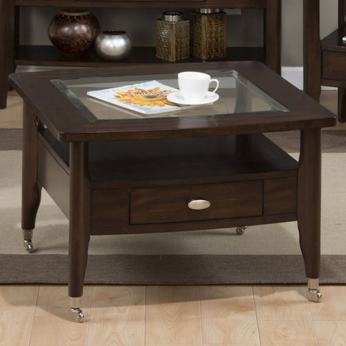 Jofran Montego Merlot Square Cocktail Table with Chrome Casters in Medium Size