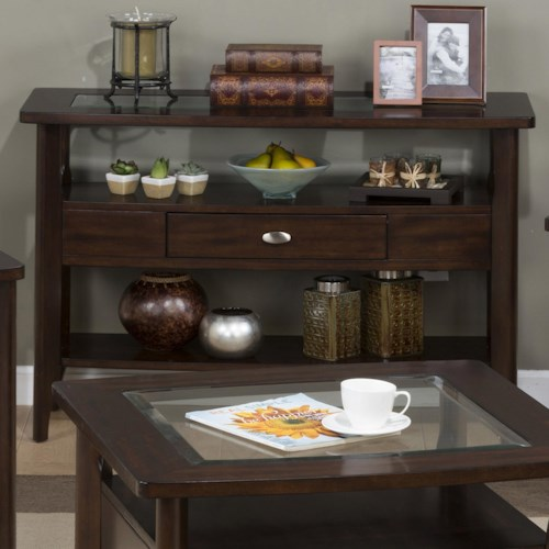 Jofran Montego Merlot Sofa Table with Glass Top