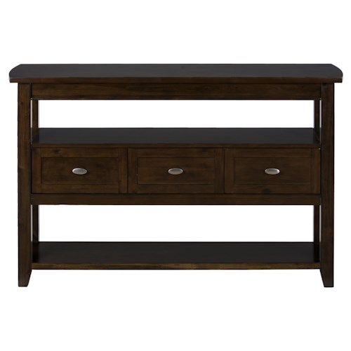 Jofran Mirandela Birch Server with 3 Drawers and Shelf