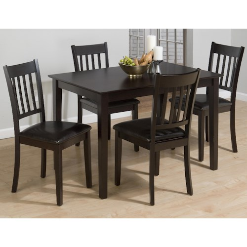 Jofran Marin County Merlot Five Piece Table and Four Faux Leather Chairs Dining Set