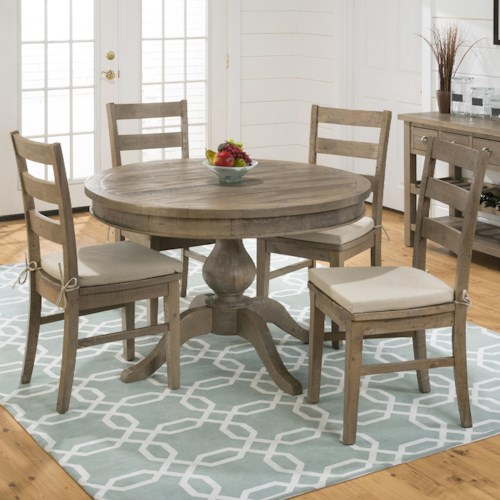 Jofran Slater Mill Pine Round Table and Ladderback Chair Set