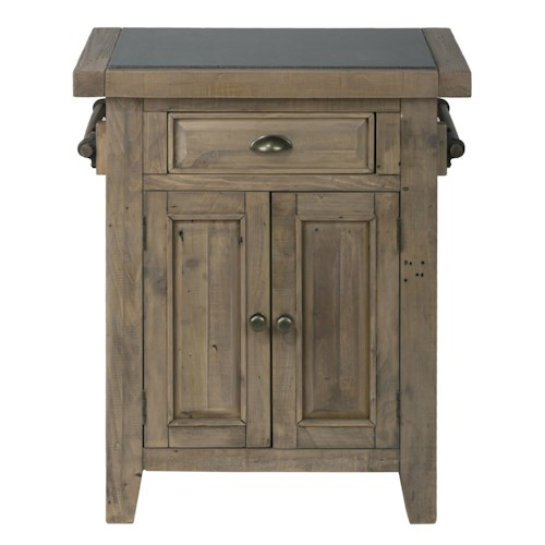 Jofran Slater Mill Pine Small Kitchen Island with Granite Top