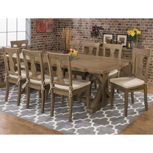 Jofran Slater Mill Pine Reclaimed Pine Trestle Table and Chair Set with Seat Pads