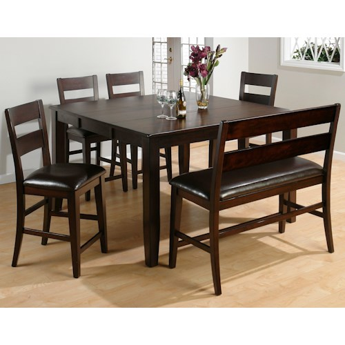 Jofran Dark Rustic Prairie Counter Height Set w/ Table and 4 Stools