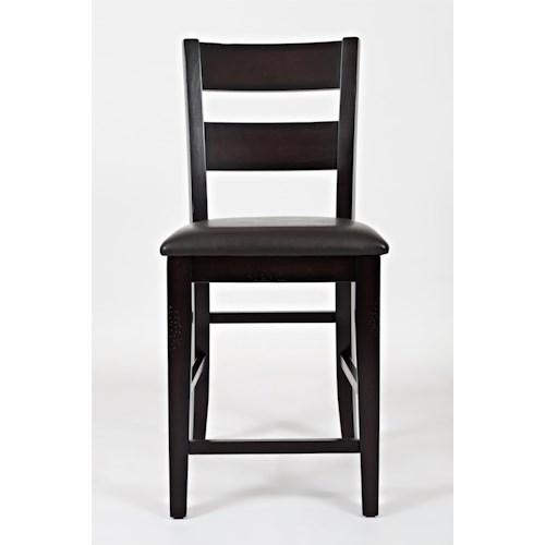 Jofran Dark Rustic Prairie Counter Height One Rung Ladderback Dining Side Chair with Hand Hewn Edges and Vinyl Seat