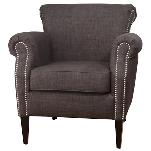 Jofran Upholstered Accent Chairs Traditional Emma Club Chair with Nailhead Accents