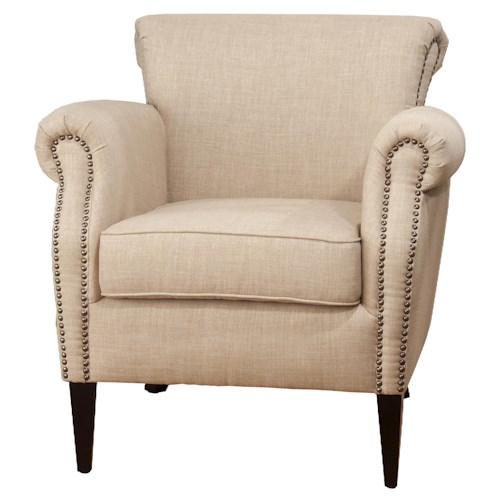 Jofran Upholstered Accent Chairs Traditional Wheat Emma Club Chair with Nailhead Accents