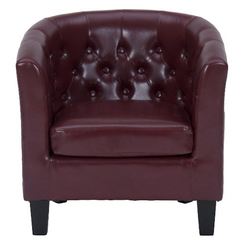 Jofran Upholstered Accent Chairs Contemporary Club Chair with Tufted Back