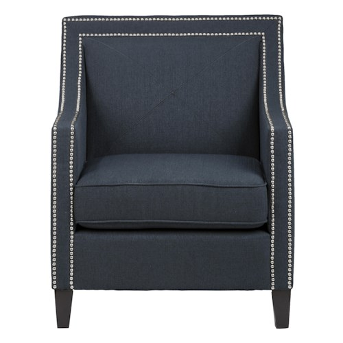 Jofran Upholstered Accent Chairs Indigo Luca Club Chair with Nail Head Trim