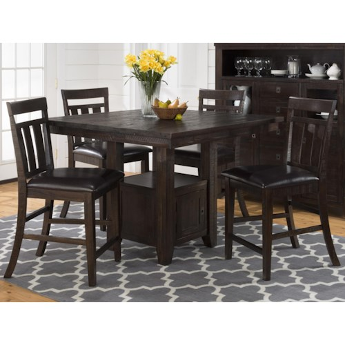 Morris Home Furnishings Kodak Pub Table with Storage Base and Chairs Set