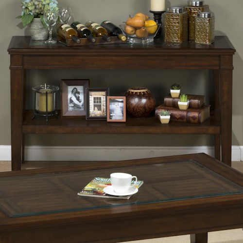 Jofran Lexington Brown Sofa Table with Raised Glass Panel and Insert