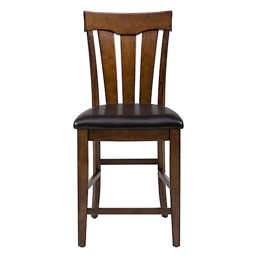 Jofran Plantation Slat Back Stool with Upholstered Seat
