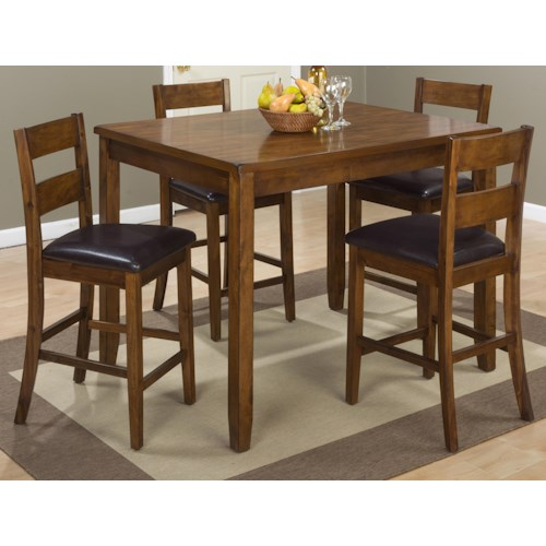 Jofran Plantation Plantation Counter Height Table and Four Stools