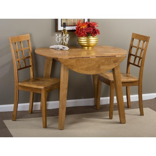 Jofran Simplicity Round Table and 2 Chair Set (with Grid Back Chairs)