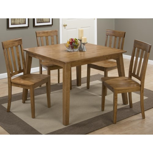 Jofran Simplicity Square Table and 4 Chair Set (with Slat Back Chairs)