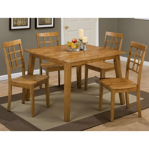 Jofran Simplicity Square Table and 4 Chair Set (with Grid Back Chairs)