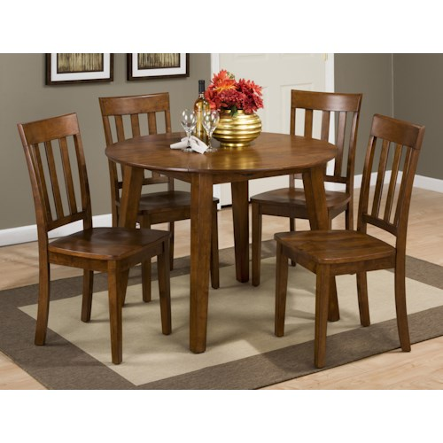 Jofran Simplicity Round Table and 4 Chair Set (with Slat Back Chairs)