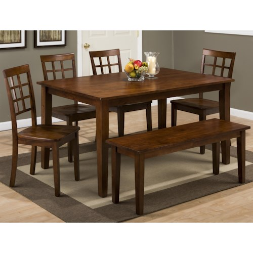 Jofran Simplicity Rectangle Dining Table and (Grid Back) Chair Set with Bench