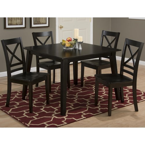 Jofran Simplicity Square Table and 4 Chair Set (with